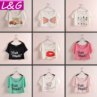 New 2015 Fashion Women T shirt Hot Selling 15-Color Print Short Tshirt Tropical Crop Top Blouse Summer Croped Tee Tops 21034
