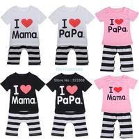 2014 new Summer clothing clever boys girls I Love Papa and Mama short sleeve t-shirt+pants suit kids pajamas set #010 SV001838