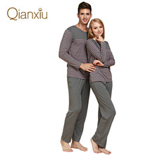 2014 New Modal&Cotton Women and Men Sleepwear Classic Stripe Lounge Wear Long-sleeve Lovers Pajamas Set Free Shipping(China (Mainland))