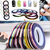2014 New 30Pcs Mixed Colors Nail Rolls Striping Tape Line DIY Nail Art Tips Decoration Sticker Nails Care b4 19817