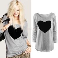 DropShipping Fashion Women Love Heart Printed Round Neck Long Sleeve T-shirt Tops Shirt Tees Gray M L XL b11 18409