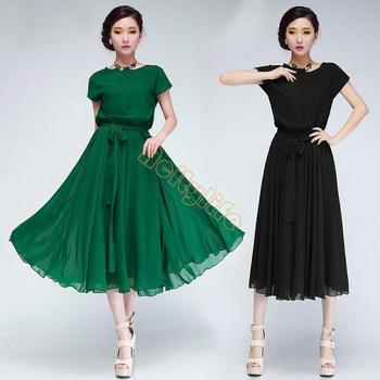 2014 новые прибытия женщины летом большой размер тонкий пляж богемной платье мода улица длиннее шифоновое платье 12