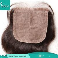 silk base closure brazilian hair 4x4 middle part brazilian wavy hair closure unprocessed 6a virgin brazilian hair body wave