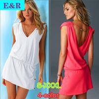 New 2015 Retail 9-Color Cotton + Polyester + Lycra Halter Deep V-neck Vestido Sexy Fashion Spring And Summer Beach Dress