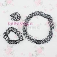Tattoo Elastic Choker Stretch Necklace Set Black Retro Henna Vintage Elastic Boho 90s Free Shipping