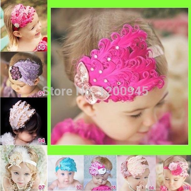 nuova moda caldo bambino bambino ragazza toddler accessori per capelli carino ragazzi piuma capelli fascia fascia di cotone elastico fiore di chiffon