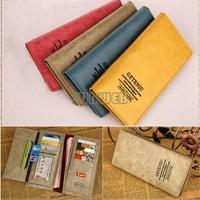 Free Ship Lady Women leather handbags Small Bag PU Card Holders Mini bags Retro Clutch Long Purse Wallet B6 SV003740