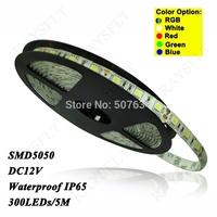Flexible fita de led 5m/lot 60leds/m IP65 Waterproof 300 leds strip DC 12V SMD 5050 rgb led tape