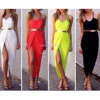 New Style Women's Ladies Sexy Dual shoulder straps Low-cut Ruched Split Slit Front Dress Sundress Maxi Party Dress B16 SV004338