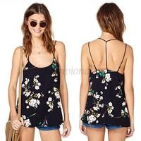 2014 Women's Ladies Summer Sexy Chiffon Floral Printed Spaghetti straps Vest Sleeveless Chiffon Tops Blouse B16 SV005805