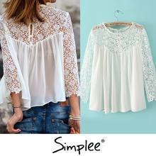 marca blusa de renda branca para as mulheres / Renda chiffon blusa / camisa de manga longa de crochê / XL transparente sexy plus size encabeça mulheres BL032(China (Mainland))