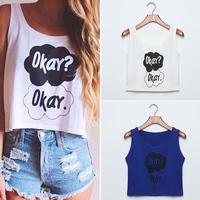 FanShou Free Shipping 2014 Women T Shirt Women Summer Top Letter Okay Okay Print Cotton T-shirt Plus Size Tee Top for Women