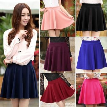 2014 женщин мода стретч талия короткие мини юбки конфеты цвет конькобежец расширяющиеся плиссе юбка 22
