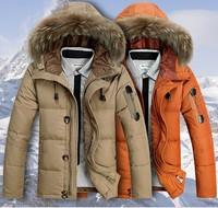 2015 BRAND Down Jacket Winter Jacket Men Coat 90% White Duck Down Short Thicken Outwear Hooded Real Fur Men's Parka Big Size 3XL