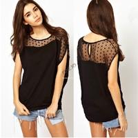 Hot! Women Summer Polka Dots Net Yarn Stitching Asymmetrical Short Sleeve T-shirt Tops Blouse b9 SV002583