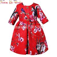 Three Quarter Sleeve Girl Dress Casual Animal Pattern Cotton Princess Girls Dresses 2015 New Brand Winter Kids Dresses For Girls