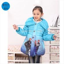 Retail Nuevos 2014 niños ropa de abrigo, chaqueta congelado invierno de las muchachas , caliente por la chaqueta para los niños , del cielo azul / rojo , envío libre(China (Mainland))