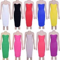 Knee Length Sexy Strapless Women HL Bodycon 2014 Bandage Dress Celebrity Dresses Wholesale Red/White/Black/Pink/Khaki