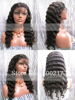 "8""-22"", Human Hair Full Lace Wig, Deep Wave, #2 Dark Brown, Indian Remy Hair Lace Wigs"