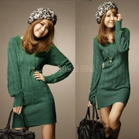 2014 Brand New Autumn Winter Knit Sweater Pullovers Dresses Women Casual V-neck Long Sleeve Sweater Mini Dress B21 9201