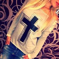 FanShou Free Shipping 2014 Women Hoody Spring Autumn Long Sleeve Pullover Sportswear Rivet Printed Sweatshirts Moleton