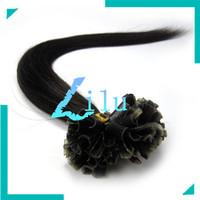 "Free Shipping 16''-26"" Pre-Bonded hair U Tip Keratin Glun Nail Tip Hair Extension Silky Straight weaves hair products #1B,0.5g/s"