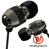 Wallytech Super Bass Noise isolating Earphone For iPod MP3 MP4 Metal Headphone for iPad 3.5mm jack  Free Shipping (WEA-081 )