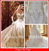BG1 Best Quality Custom Ivory Satin Gold Embroidered Halter Wedding Dress With Royal Train 2014