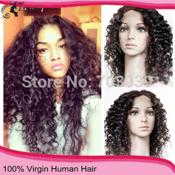 2014 Fashion12-26Inch130Density Natural Black Brazilian Human Virgin Hair Wig Full Lace Wig&Glueless Lace Front Wigs Kinky Curly