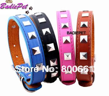 Wholesale MOQ:12pcs (4colors available)Free Shipping! Square Stud Dog Pet Collar S/M/L/XL