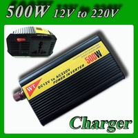 Modified Sine Wave Power inverter 12V to 220V 500W Mobile Car Power Converter DC to AC  DC 12 to AC 220V with battery charger