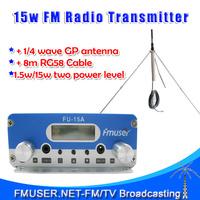 Freeshipping 15W stereo PLL FM  transmitter broadcaster  GP antenna power KIT transmisor de fm