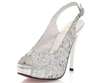 Free Shipping! Hot sale recommended! Sexy beauty sequins high-heeled shoes, high heel pumps sandals,fish mouth peeptoe,008878