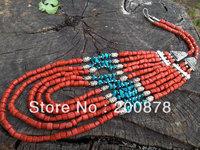 TNL381  Amazing Tibetan Coral Turquoise multi-layer beaded necklace Wholesale Tibet Nepal Handmade Jewelry