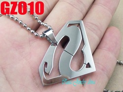 with beads chain 316L stainless steel pendants superman necklace Men&#39;s male fashion chain jewelry 10pcs GZ010(China (Mainland))