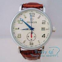GOER Watch Men Men's Automatic Mechanical Watch White Brown Date Wrist Watch Xmas Gift Free Ship