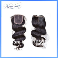 Top selling top lace closure virgin hair body wave natural off black color 10-20inch & DHL fast shipping in 3-7days