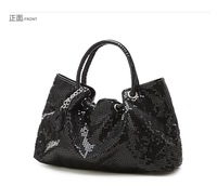 2013 HOT high quality Vintage fashion women's bright flash patent leather handbag,paillette ladies' handbag(black/white/gold)