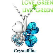 $ 0,99 di promozione di fabbrica hotsell 18 kgp di cristallo austriaco four leaf foglie di trifoglio strass cuore collana pendente dei monili 9554(China (Mainland))