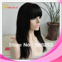 Indian remy hair Yaki straight lace front wigs #1b with a bang