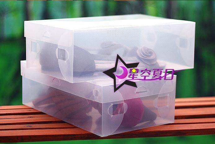 Free shipping, Transparent Folded Shoe Box, PP shoe box with cover, storage box,16pcs/lot(China (Mainland))