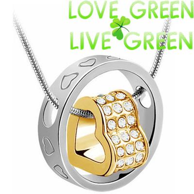 wedding brand fashion austrian Crystal rhinestones zircon float floating heart circle snake chain Necklace pendant jewelry 84113(China (Mainland))
