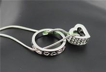 wedding brand fashion austrian Crystal rhinestones zircon float floating heart circle snake chain Necklace pendant jewelry