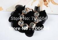 SALE only 1 lot New Silk Gauze Art Flower silver Rhinestone Bracelet for women Fashion Bracelet