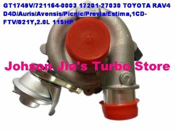 GT1749V/721164-0003 17201-27030 Turbocharger for TOYOTA RAV4 D4D/Auris/Avensis/Picnic/Previa/Estima,1CD-FTV/021Y,2.0L 115HP