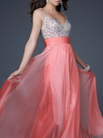 new style pleat and beading handwork V-neck Long Prom Dresses OL101841