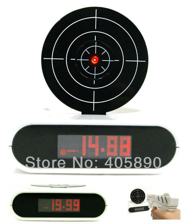 Amazing Gun Alarm Clock Shooting Game Laser Target Creative Clock Good Gift