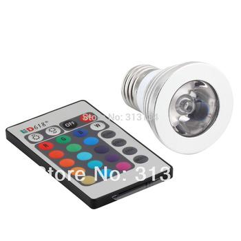 5pcs/lot 16 Color E27 Remote Control 3W RGB LED Light Bulb Lamp