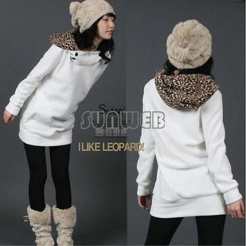 Womens Autumn Sweatshirts Hoodies Leopard Top Outerwear Parka Coats White/ Black Four Size free shipping  3283