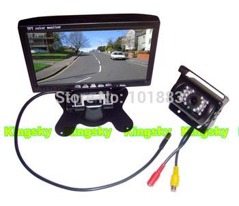 "7"" LCD Monitor+18 ir LED Night Vision CCD Reverse Camera Car Rear View Kit For Truck Bus Backup Parking Sensor System (12V)"